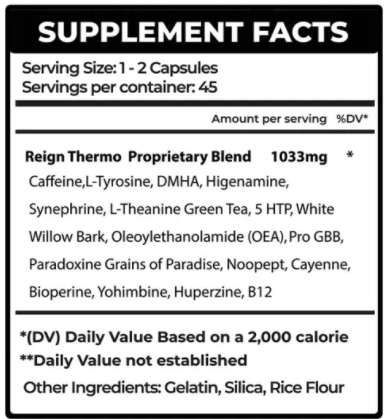Reign Thermogenic Formula 90 caps