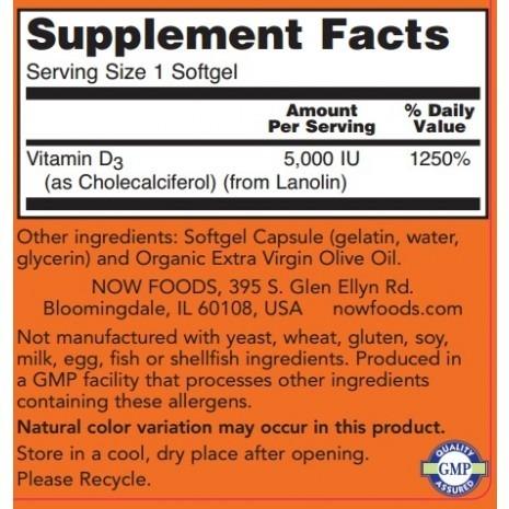 NowFoods Vitamin D-3 5000UI 240 caps